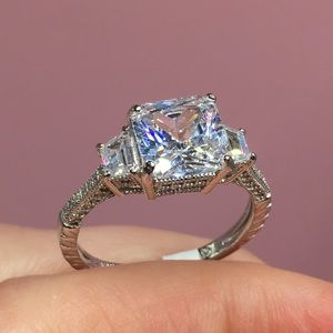 Jewelry - 14k white gold engagement antique ring wedding 3ct